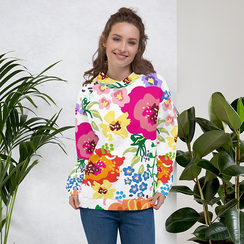 Multicolor Floral with White Background Unisex Hoodie