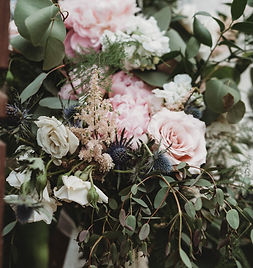 Wedding Bridal Bouquet with blush roses, eucalyptus, blue thistle, pink peonies