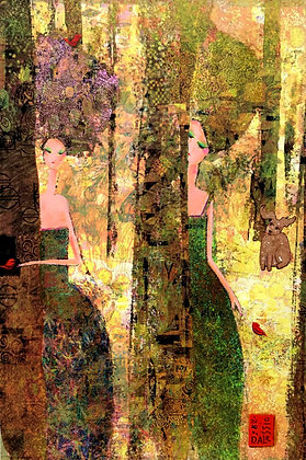 """Klimted Woodland Fantasy with Golden Bunny"""