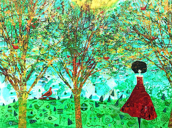 """Golden Orchard with Red Bird"""