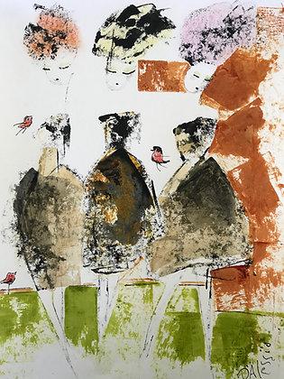 """Three Girls with Red Birds"""