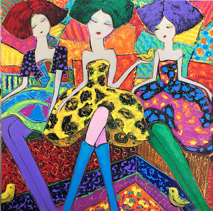 Three Ladies in a Colorful Mood
