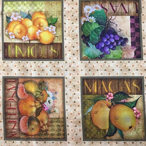 Tecido Digital Quadros de Frutas