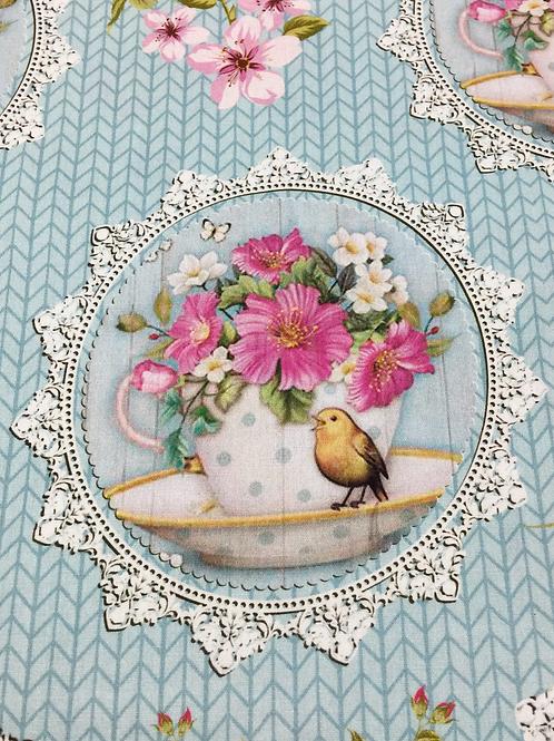 Tecido Xícaras/Pássaros