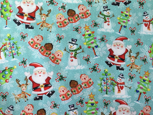 Tecido Digital Papai Noel sobre turquesa