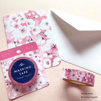 桜グリーティングカード&マスキングテープ
