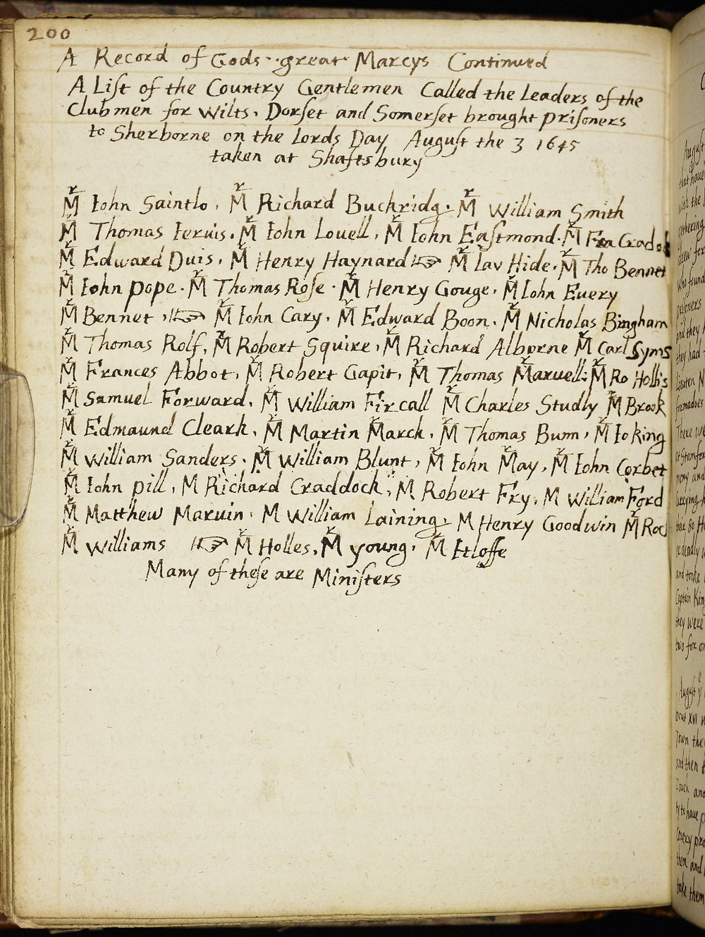 Clubmen leaders taken prisoner in Shaftesbury. List from the Ryland Collection, Manchester.