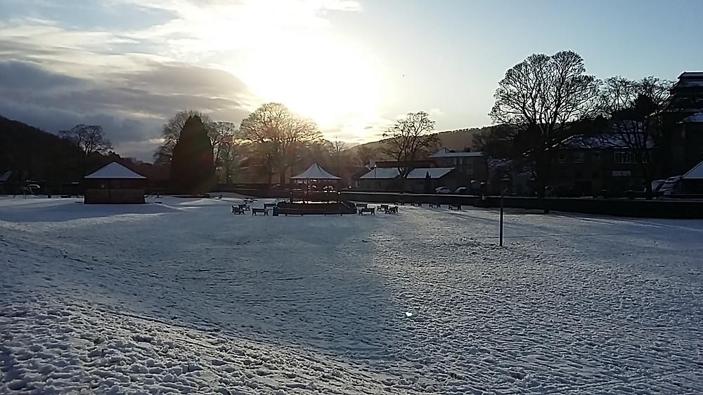 Pateley Bridge bandstand in the winter sun, near River View Pateley