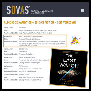 The Last Watch Audiobook Nominated for SOVAS Voice Arts Award