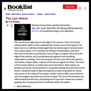 Booklist Starred Review for The Last Watch Audiobook
