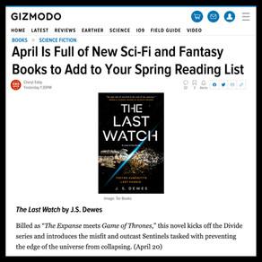 Publishing Quest » The Last Watch, io9 April Sci-Fi and Fantasy Books