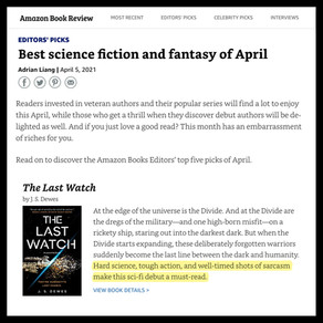 The Last Watch is an Amazon Book Review Top 5 Sci-Fi and Fantasy Pick for April!
