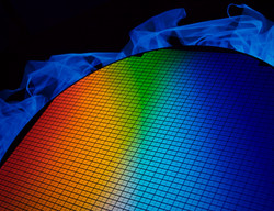 detail of a silicon chip wafer reflectin