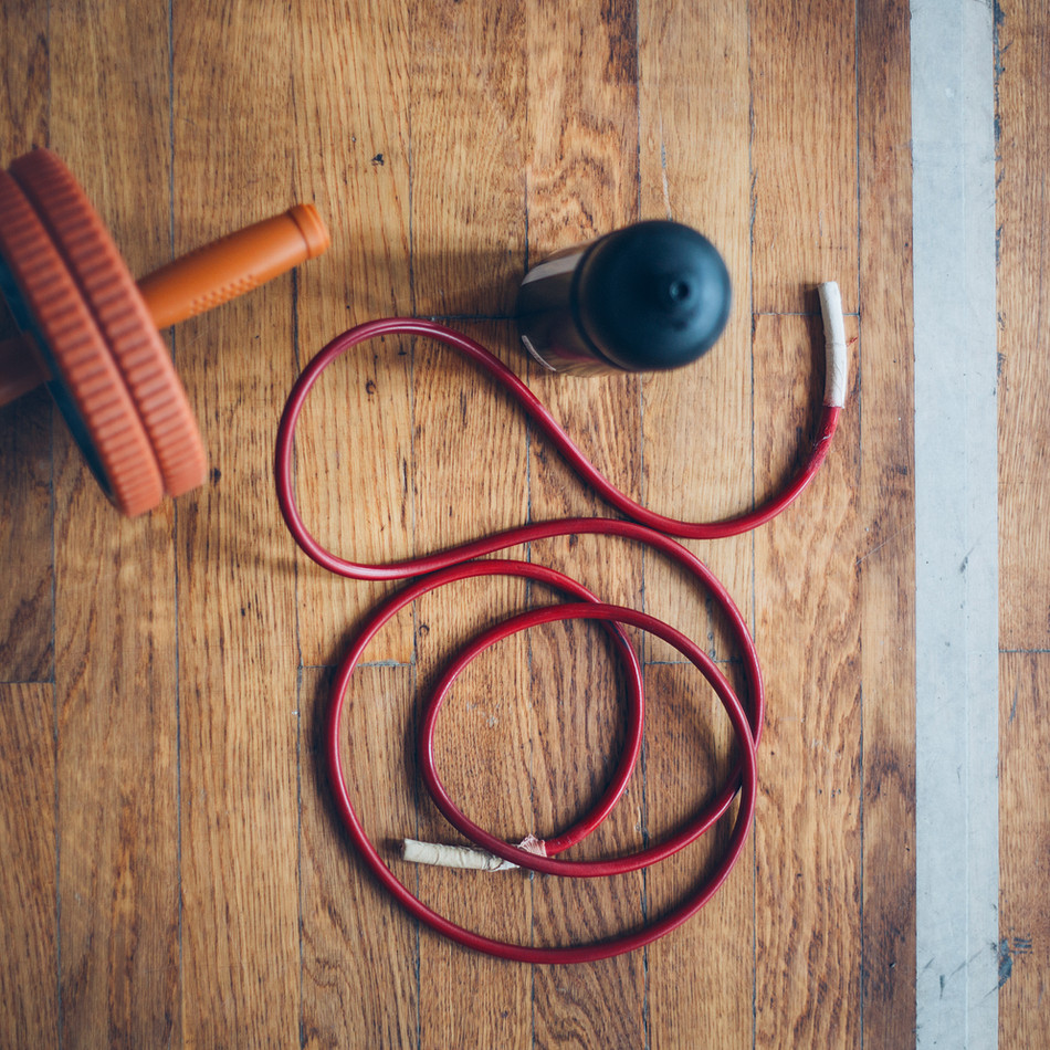Fitness Equipment On a Wood Floor