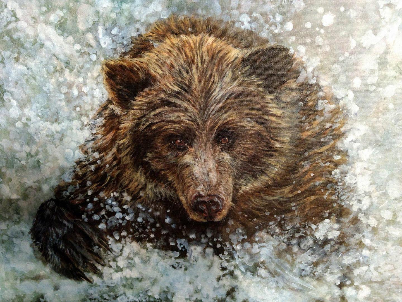 "Brown Bear 16''x20"" acrylic (sold)"