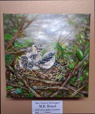 """Northern Mockingbirds"" oil on gallery c"