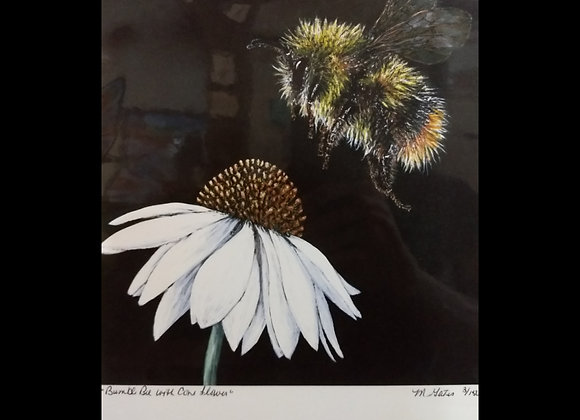 Bumble Bee with Cone Flower print