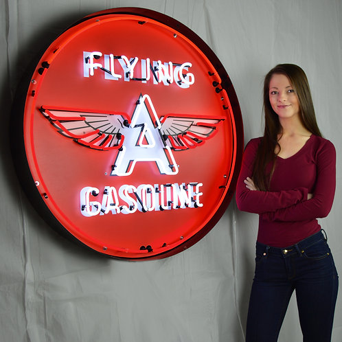 """Flying A  36"""" Round Neon Sign"""