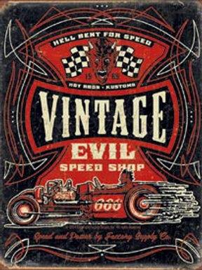 Vintage Evil Speed Shop Metal Sign