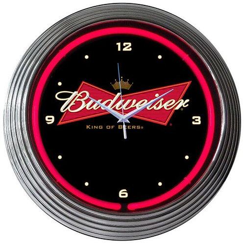 Bud Bowtie Neon Clock