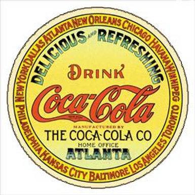Round Drink Coke Atlanta Metal Sign