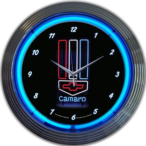 Camaro Red, White & Blue Neon Clock