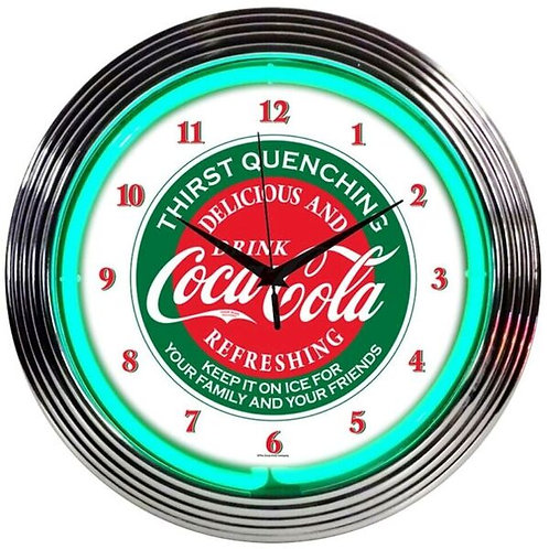 Coke Evergreen Neon Clock