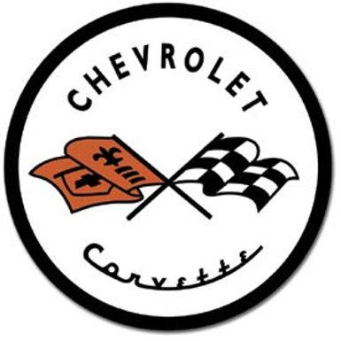 Round Corvette Metal Sign