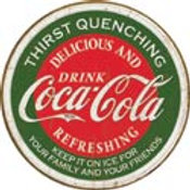 Round Coca Cola Quenching  Metal Sign