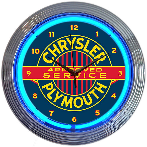 Vintage Chrysler Plymouth Service Neon Clock
