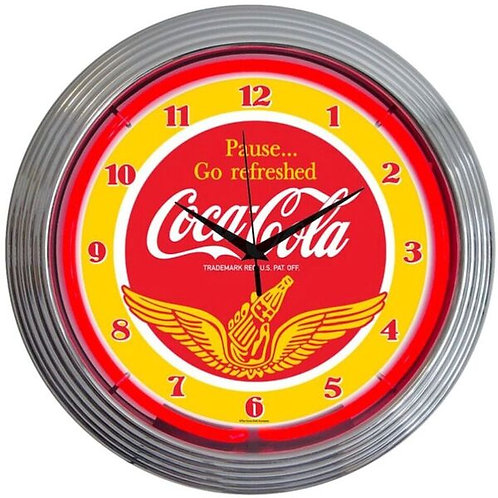 Coke w/ Wings Neon Clock