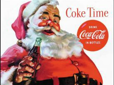 Coke With Santa Metal Sign