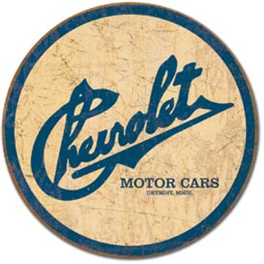 Round Chevrolet Motor Cars Metal Sign
