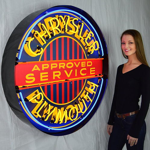 "Chrysler Plymouth Svce.  36"" Round Neon Sign"