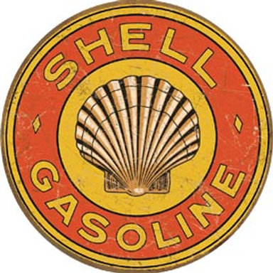 Round Shell Gasoline Metal Sign