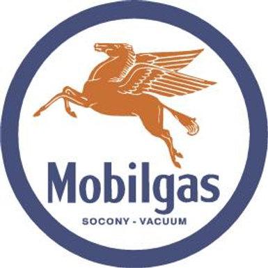 Round Mobilgas Metal Sign