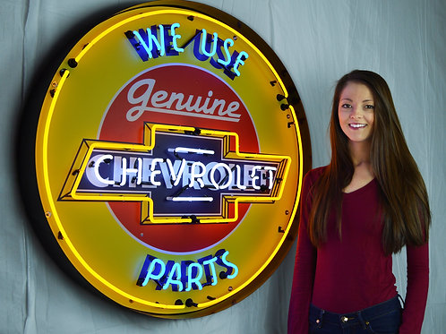 "Genuine Chevy Parts  36"" Round Neon Sign"