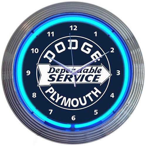 Dodge Plymouth Reliable Svce. Neon Clock