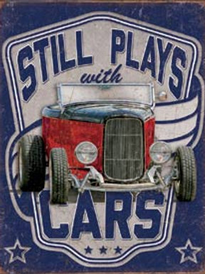 Still Plays With Cars Metal Sign
