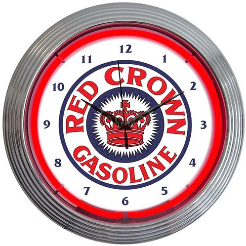 Red Crown Gas Neon Clock