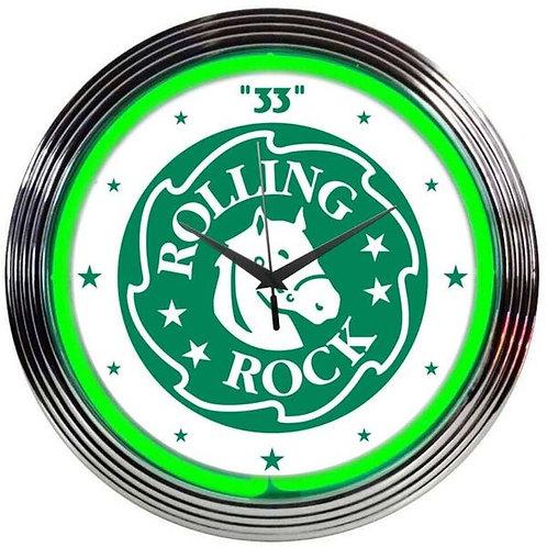 Rolling Rock Beer Neon Clock
