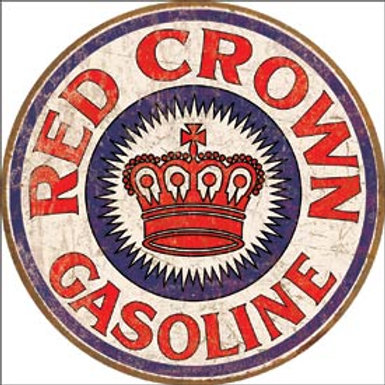 Round Red Crown Gasoline Metal Sign
