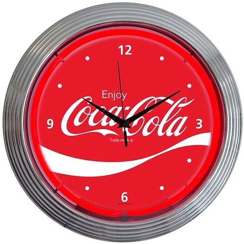 Coke Red w/Wave Neon Clock