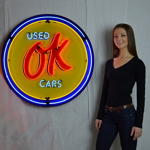 """Used OK Cars  36"""" Round Neon Sign"""