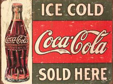 Ice Cold Coke Sold Here Metal Sign