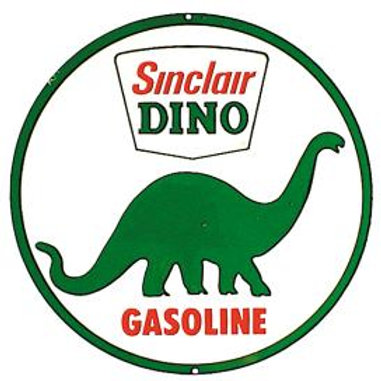 Round Sinclair Dino Metal Sign