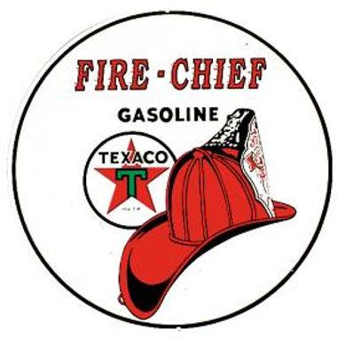 Round Fire Chief Gasoline Metal Sign
