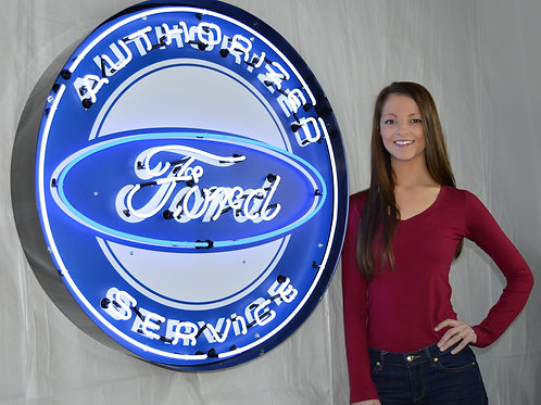 """Ford Service  36"""" Round Neon Sign"""