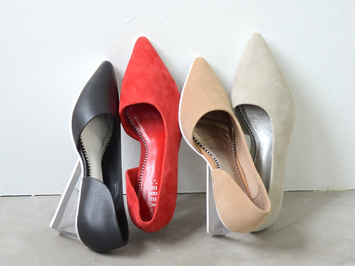 Sheep  Leather Asymmetry Pumps