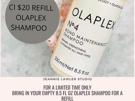 Olaplex Shampoo Refill only CI $20. While Supplies Last!